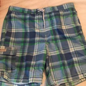 Chaps plaid swim trunks large